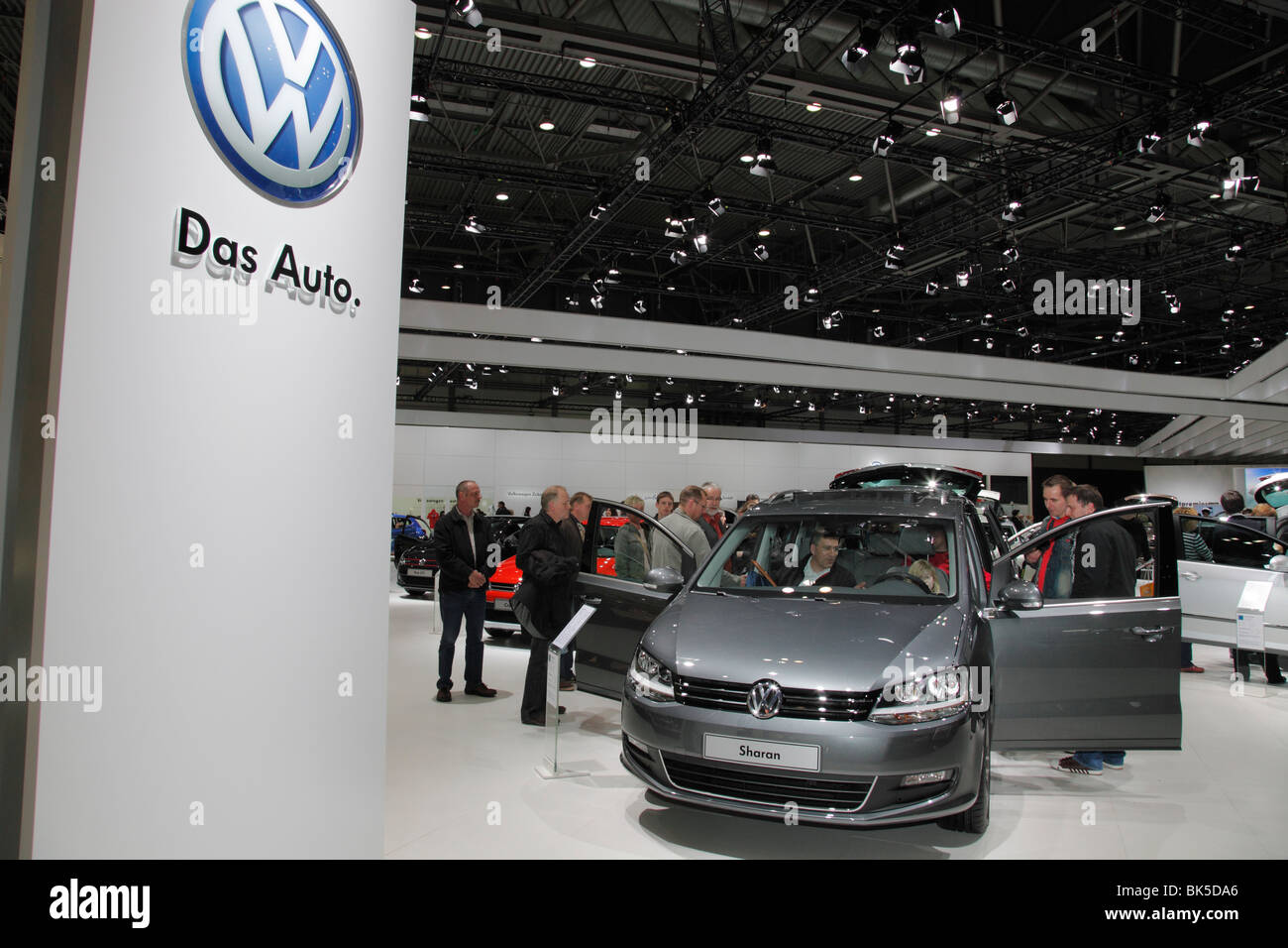 VW Sharan at the Auto Mobil International (AMI) - Motor Show 2010 in Leipzig, Germany - Stock Image