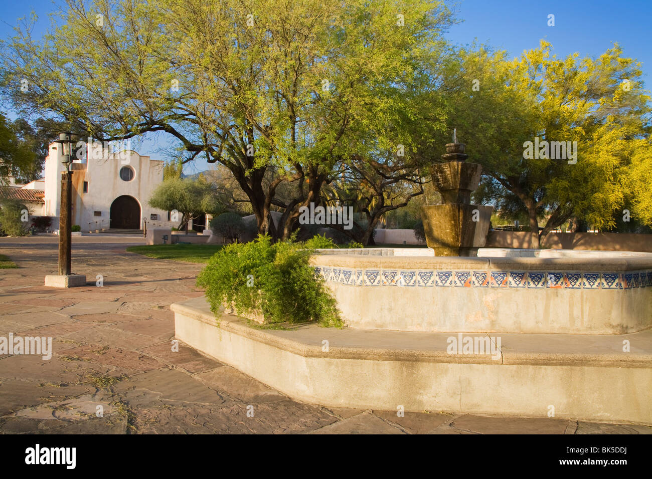 Courtyard and fountain, St. Philip's in the Hills Church, Tucson, Pima County, Arizona, United States of America, - Stock Image