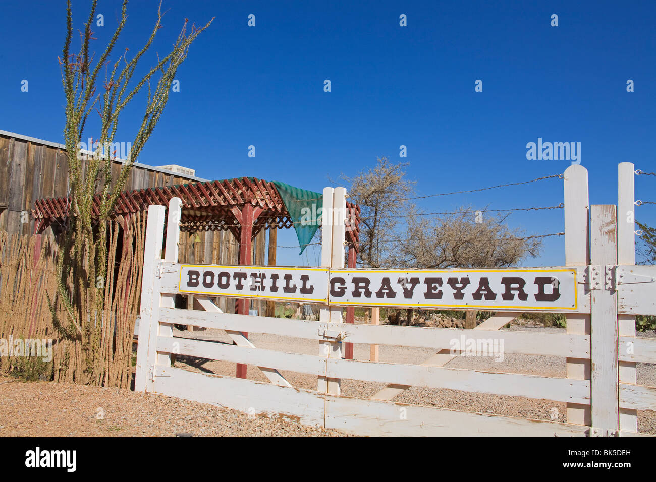 Boothill Graveyard Gate, Tombstone, Cochise County, Arizona, United States of America, North America - Stock Image