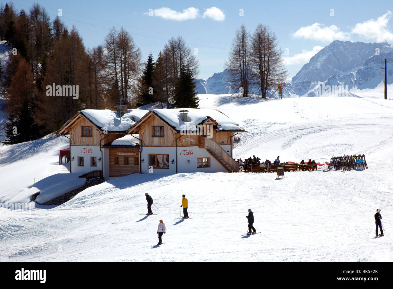 People Skiing In Corvara Dolomites Italy Europe Stock Photo