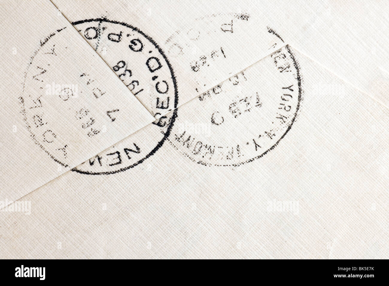 Vintage yellowed envelope with postmark stamp - Stock Image