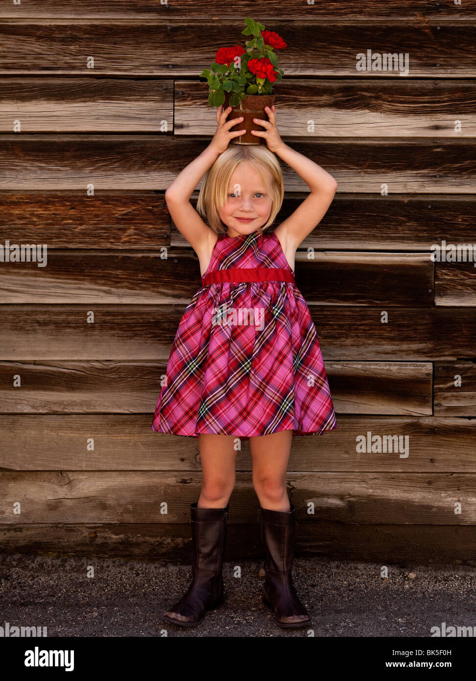 Little girl in plaid dress with potted plant on her head - Stock Image