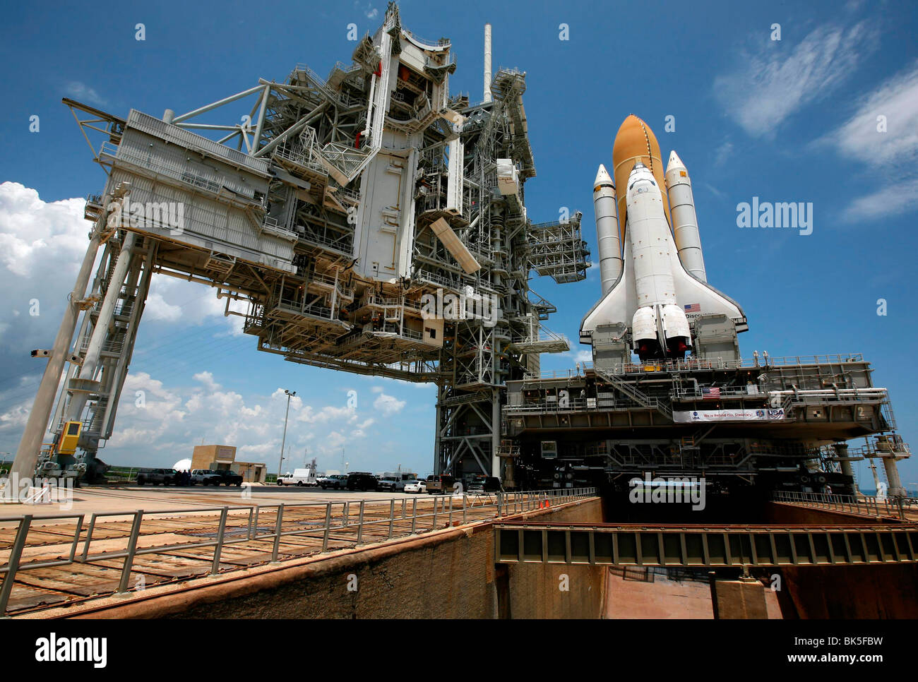 Space shuttle Discovery prepares for liftoff, NASA, Kennedy Space Center, Florida, USA - Stock Image