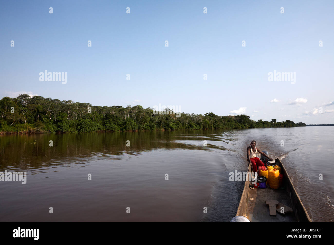 A dugout canoe on the Congo River, Democratic Republic of Congo, Africa - Stock Image