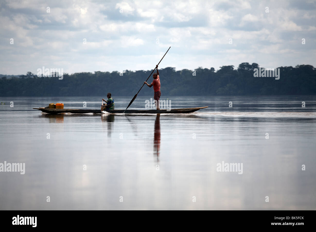 River traffic on the Congo River, Democratic Republic of Congo, Africa - Stock Image