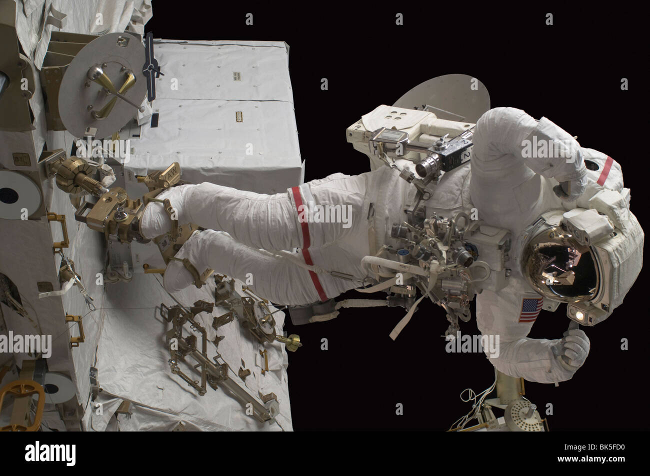 Astronaut participates in a session of extravehicular activity (EVA), International Space Station Stock Photo
