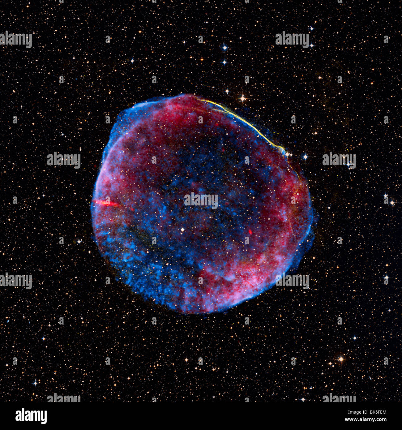 A composite image of the SN 1006 supernova remnant, which is located about 7000 light years from Earth - Stock Image