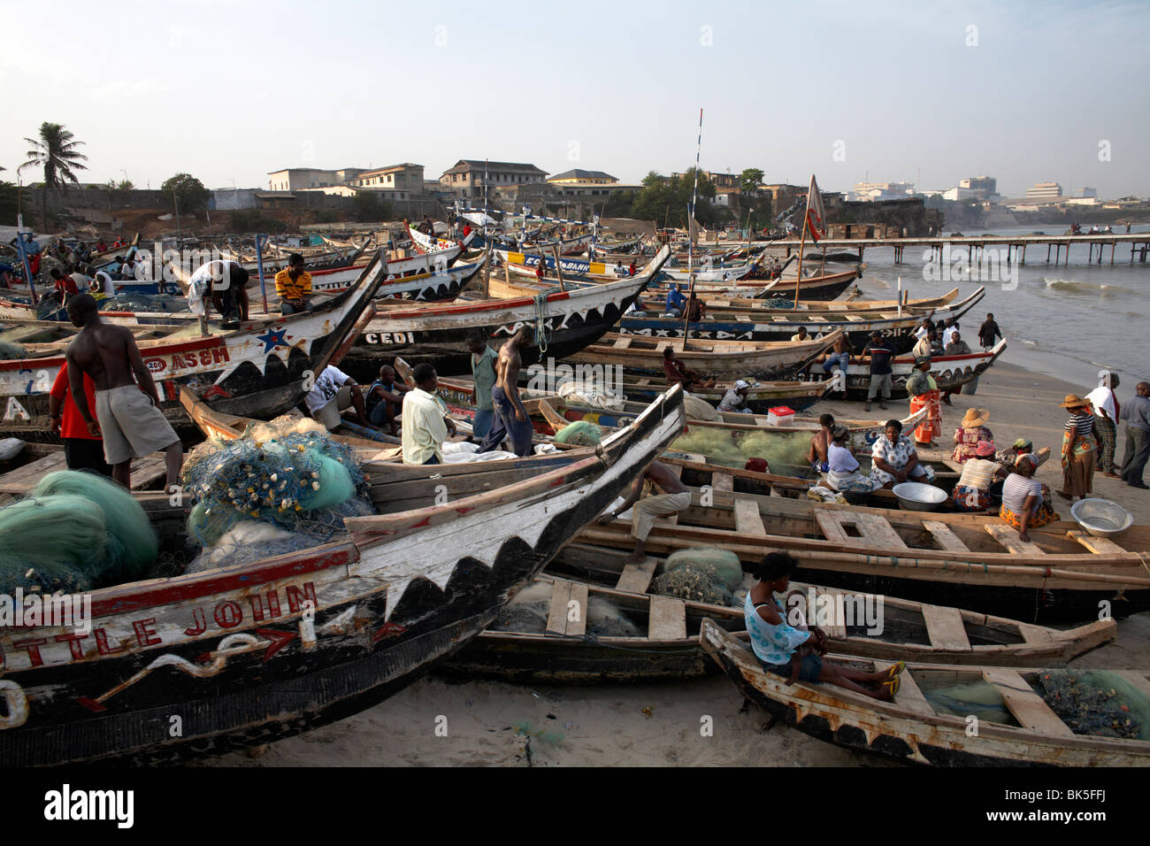 Fishing boats on the beach in Accra, Ghana, West Africa, Africa - Stock Image