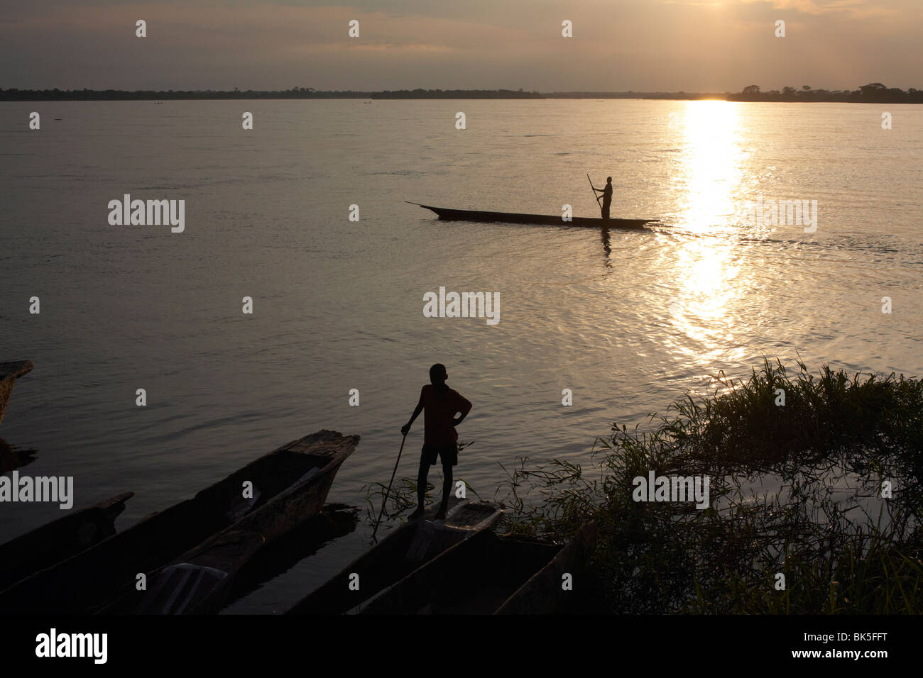The Congo river at Yangambi, Democratic Republic of Congo, Africa - Stock Image