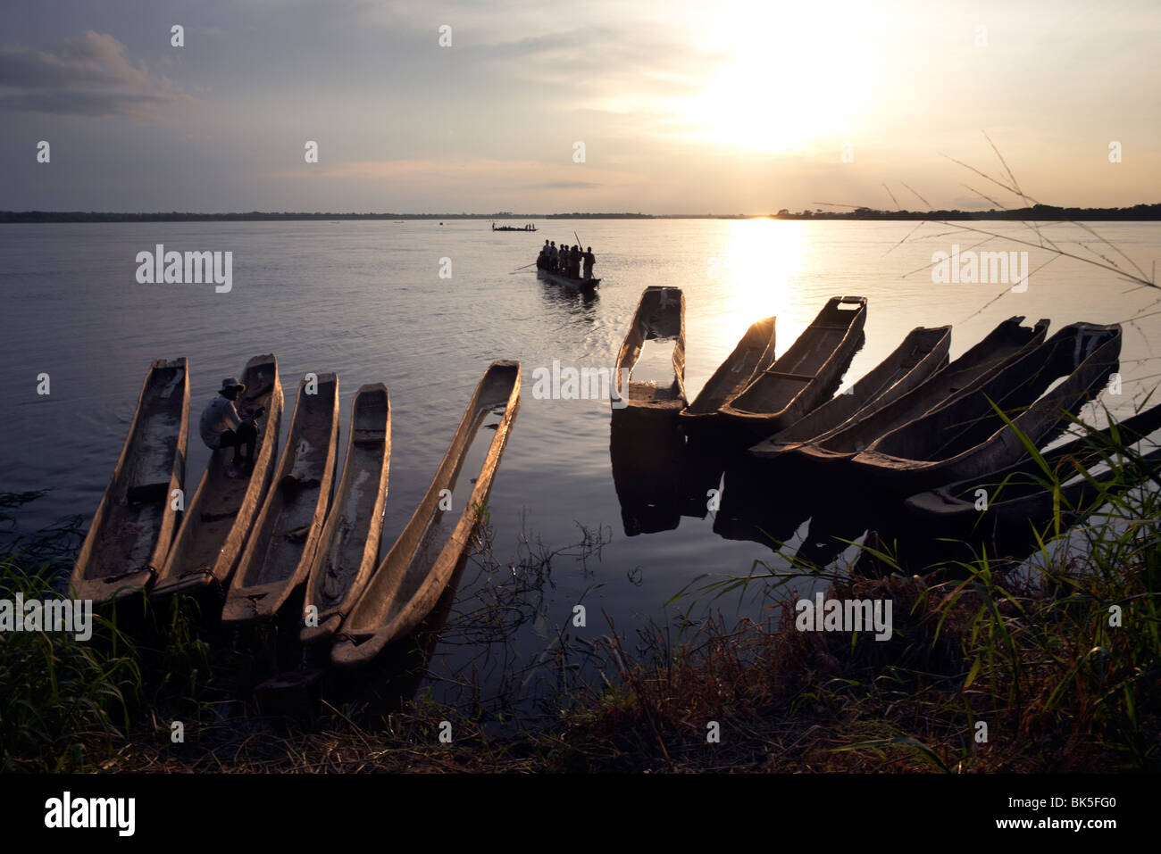 Dugout canoes (pirogues) on the Congo River, Yangambi, Democratic Republic of Congo, Africa - Stock Image