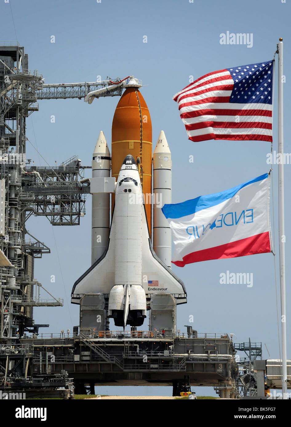 Space Shuttle Endeavour is in place to launch, Kennedy Space Center, Cape Canaveral, Florida, USA - Stock Image