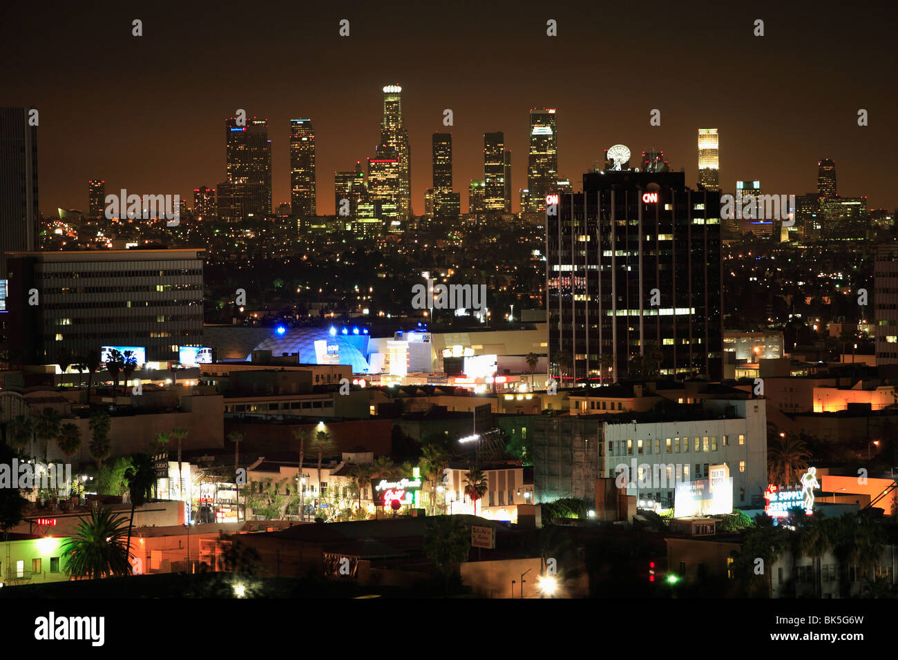 City at night, Los Angeles, California, United States of America, North America - Stock Image