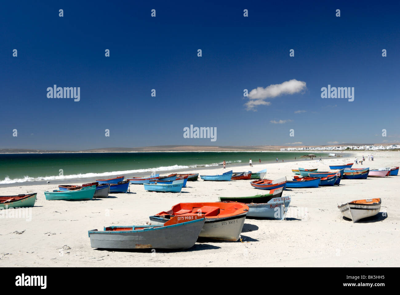 Beach and fishing boats, Paternoster, Western Cape, South Africa, Africa - Stock Image