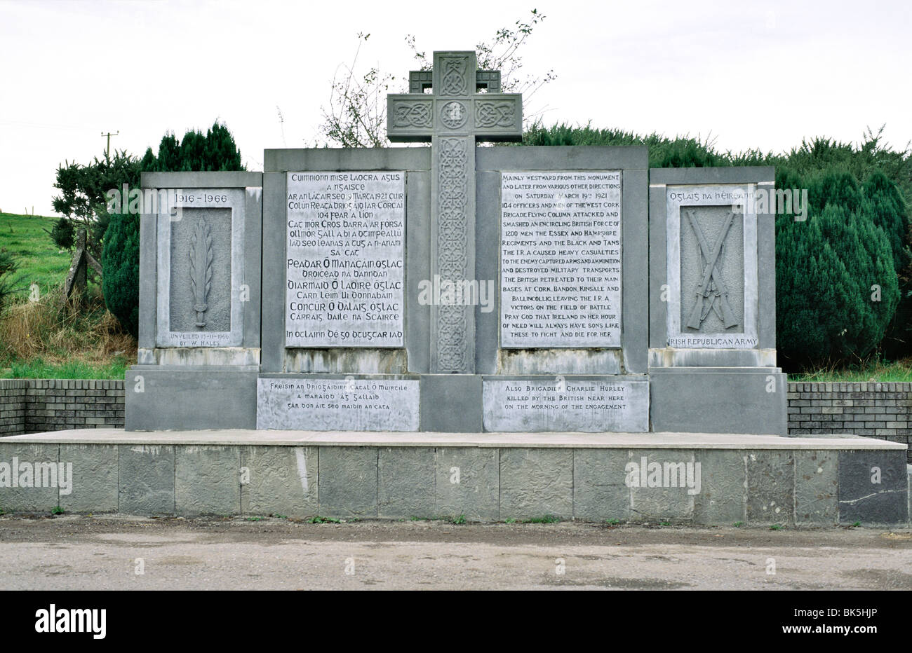 Memorial in village of Crossbarry, Co. Cork, Ireland. Here Tom Barry's Brigade IRA flying column attacked British - Stock Image