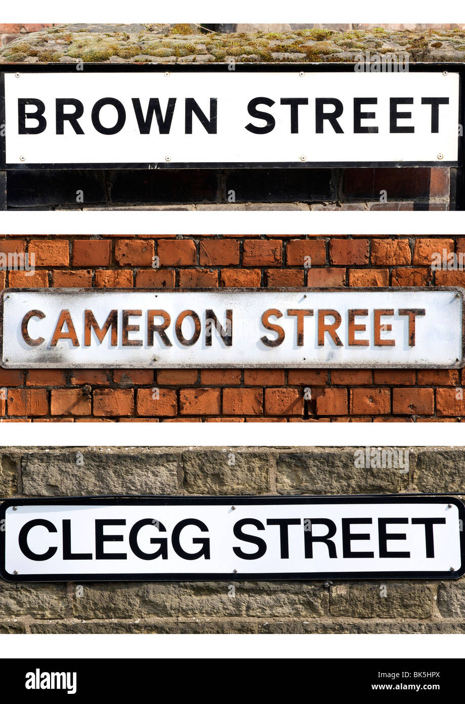 Street signs containing the surnames of the leaders of the three main political parties in the UK - Stock Image