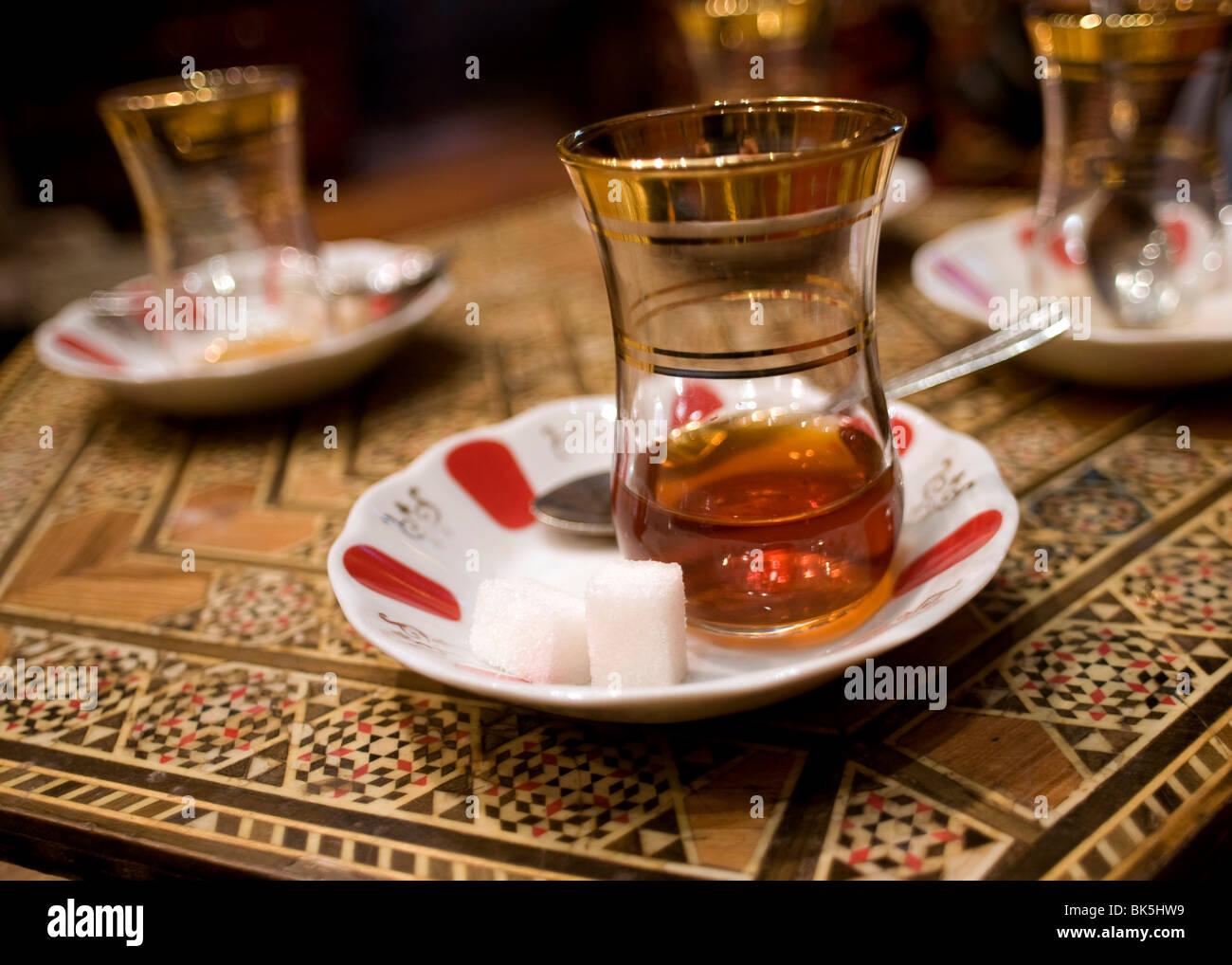 Glasses of traditional Turkish tea, Istanbul, Turkey - Stock Image