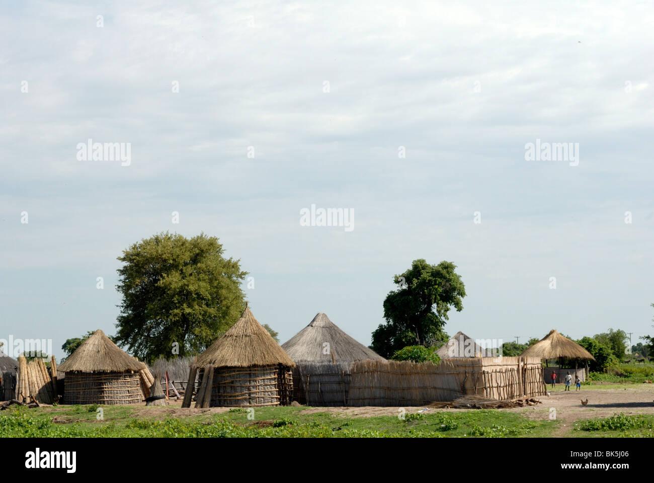 Traditional village, north west Botswana, Botswana, Africa - Stock Image