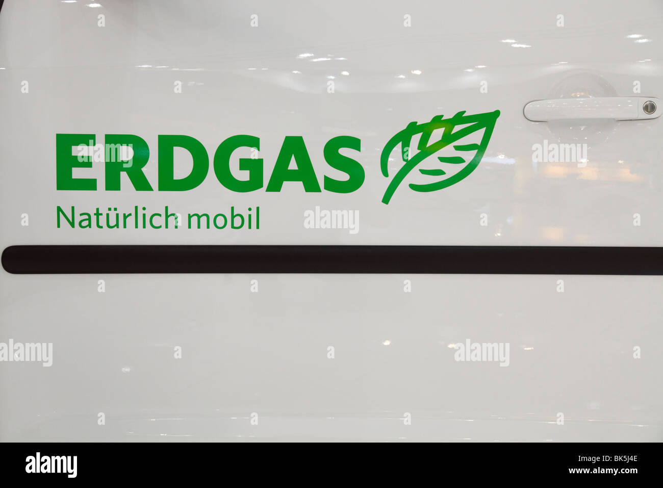 advertising for natural-gas propulsion at the Motor Show 2010 in Leipzig, Germany - Stock Image