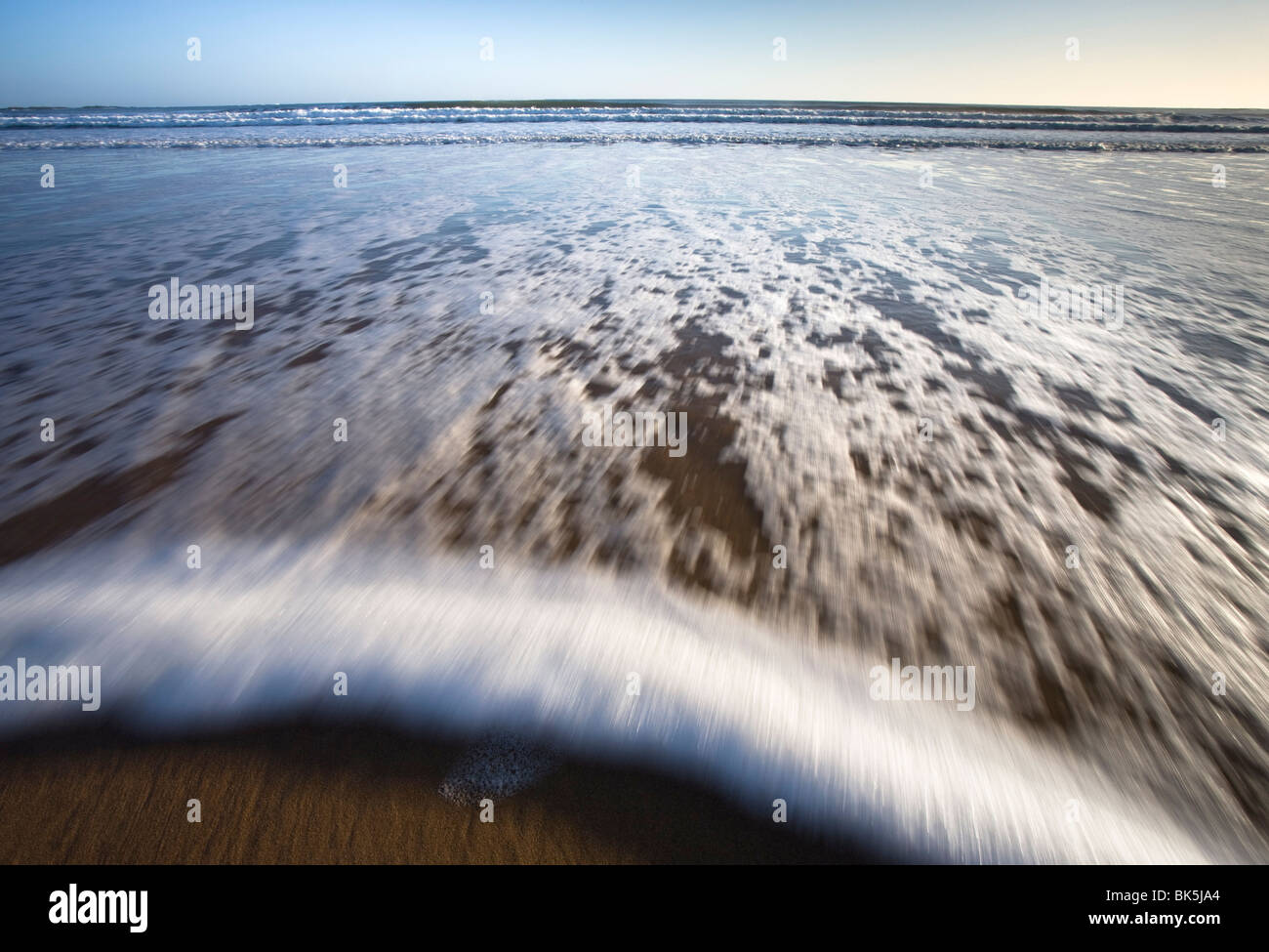 Surf washing up the beach, Embleton Bay, Northumberland, England, United Kingdom, Europe - Stock Image