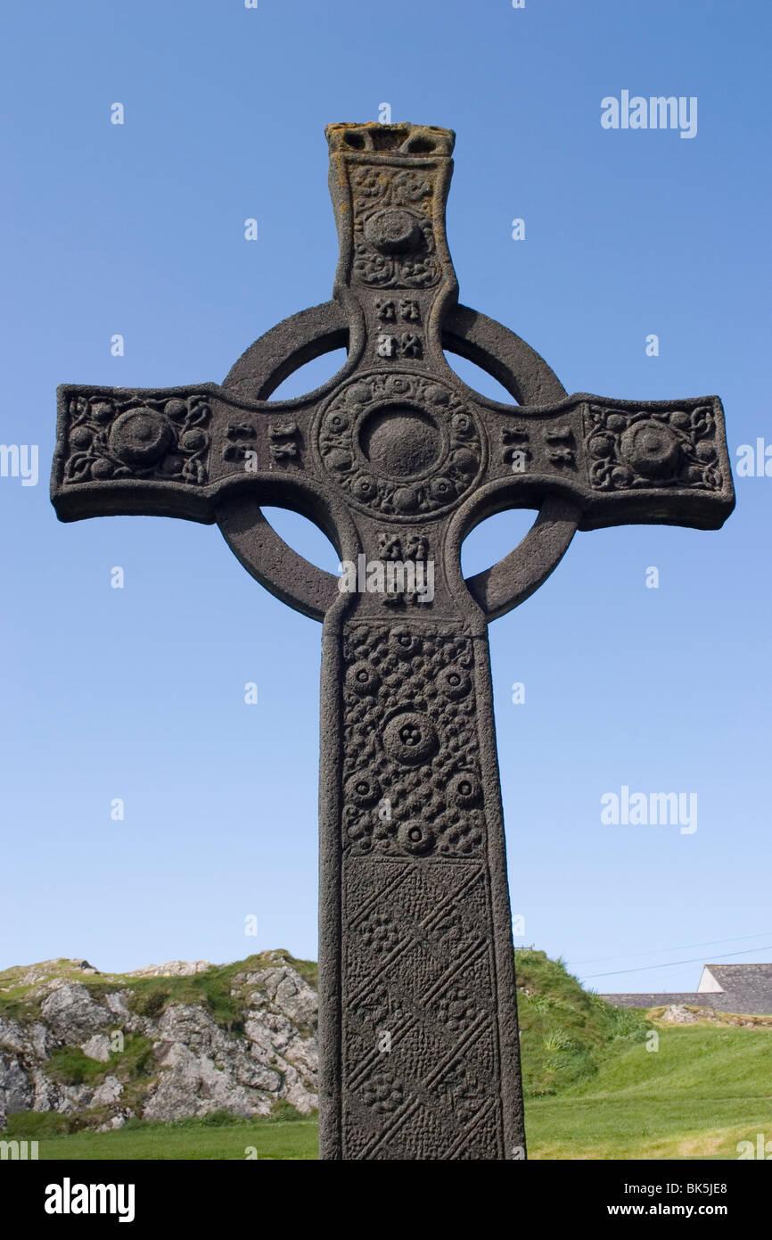 St. John's cross, Iona, Scotland, United Kingdom, Europe - Stock Image