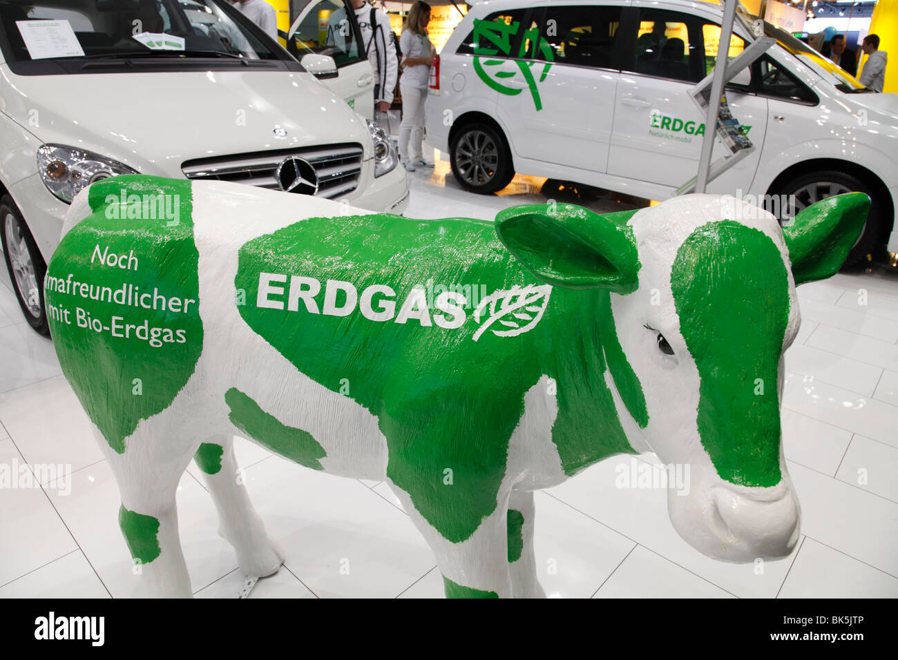 advertising for Biogas propulsion at the Motor Show 2010 in Leipzig, Germany - Stock Image