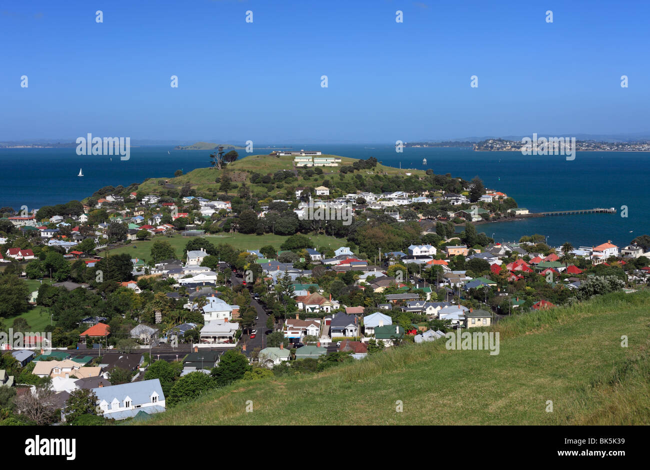 The Hauraki Gulf from Mount Victoria in Devonport, Auckland. - Stock Image