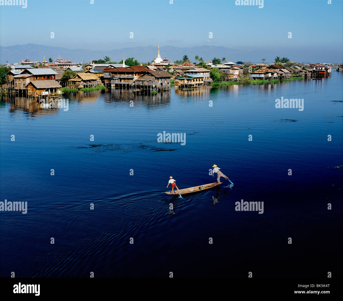 Inle Lake, and distant hills of Shan Plateau, Shan State, Myanmar (Burma), Asia - Stock Image