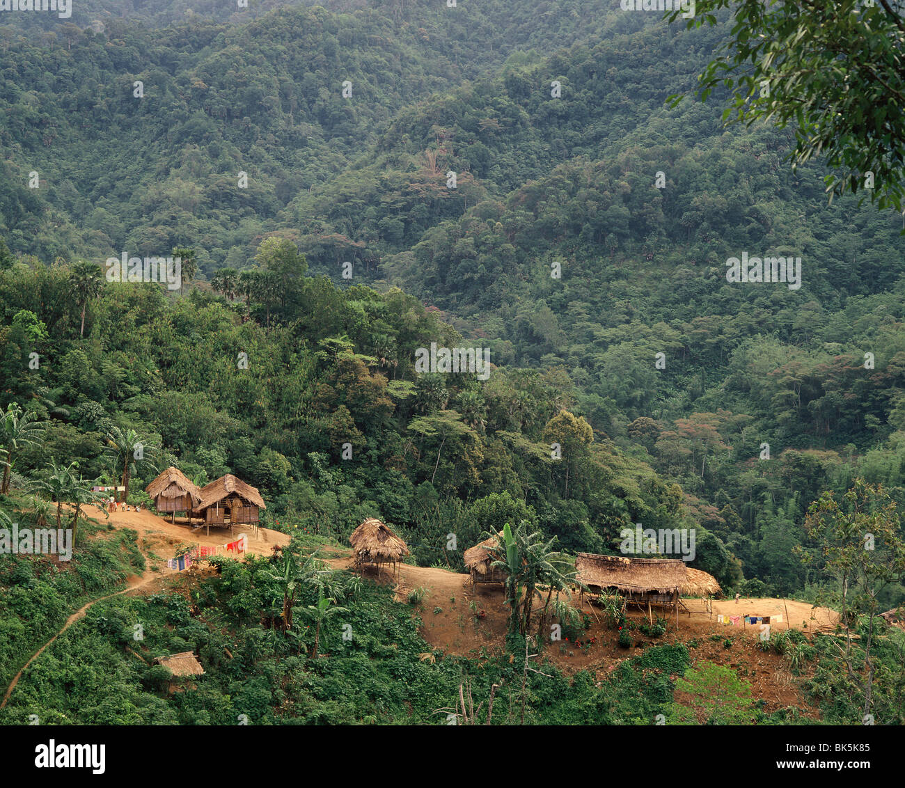 Orang Asli village in Cameron Highlands, Malaysia, Southeast Asia, Asia - Stock Image