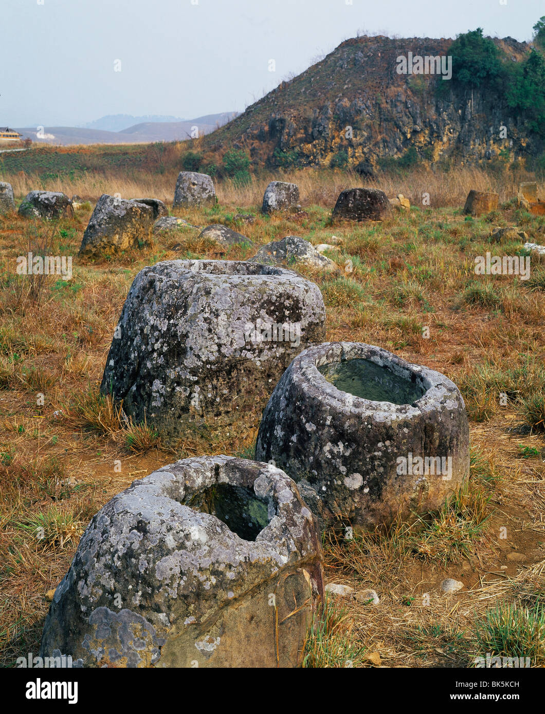 Plain of Jars, site of over 300 jars between 1500 and 2000 years old, Annamese Cordillera, Northern Laos, - Stock Image