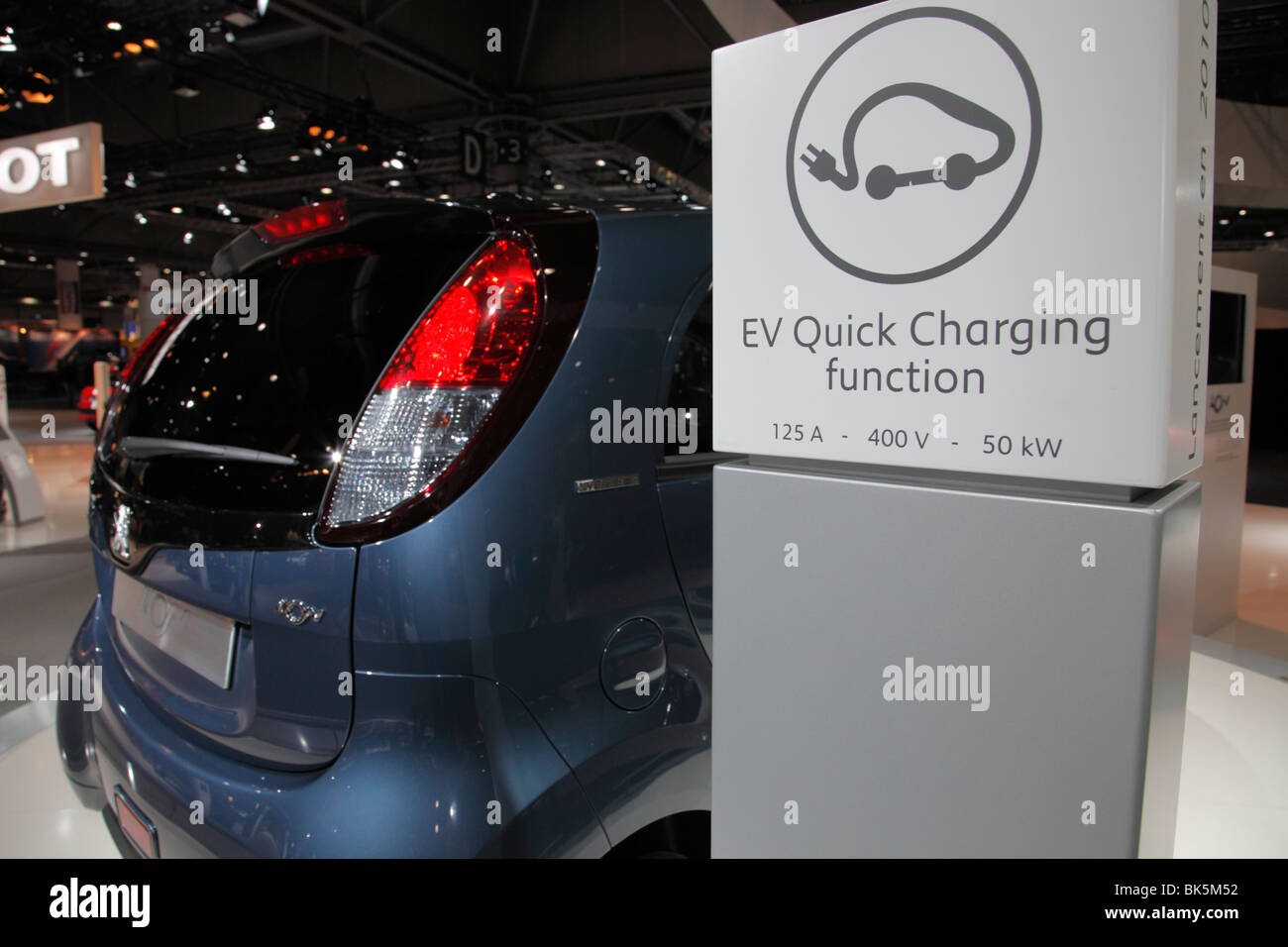 PEUGEOT iOn with EV Quick Charging function an electric car at the Motor Show 2010 in Leipzig, Germany - Stock Image