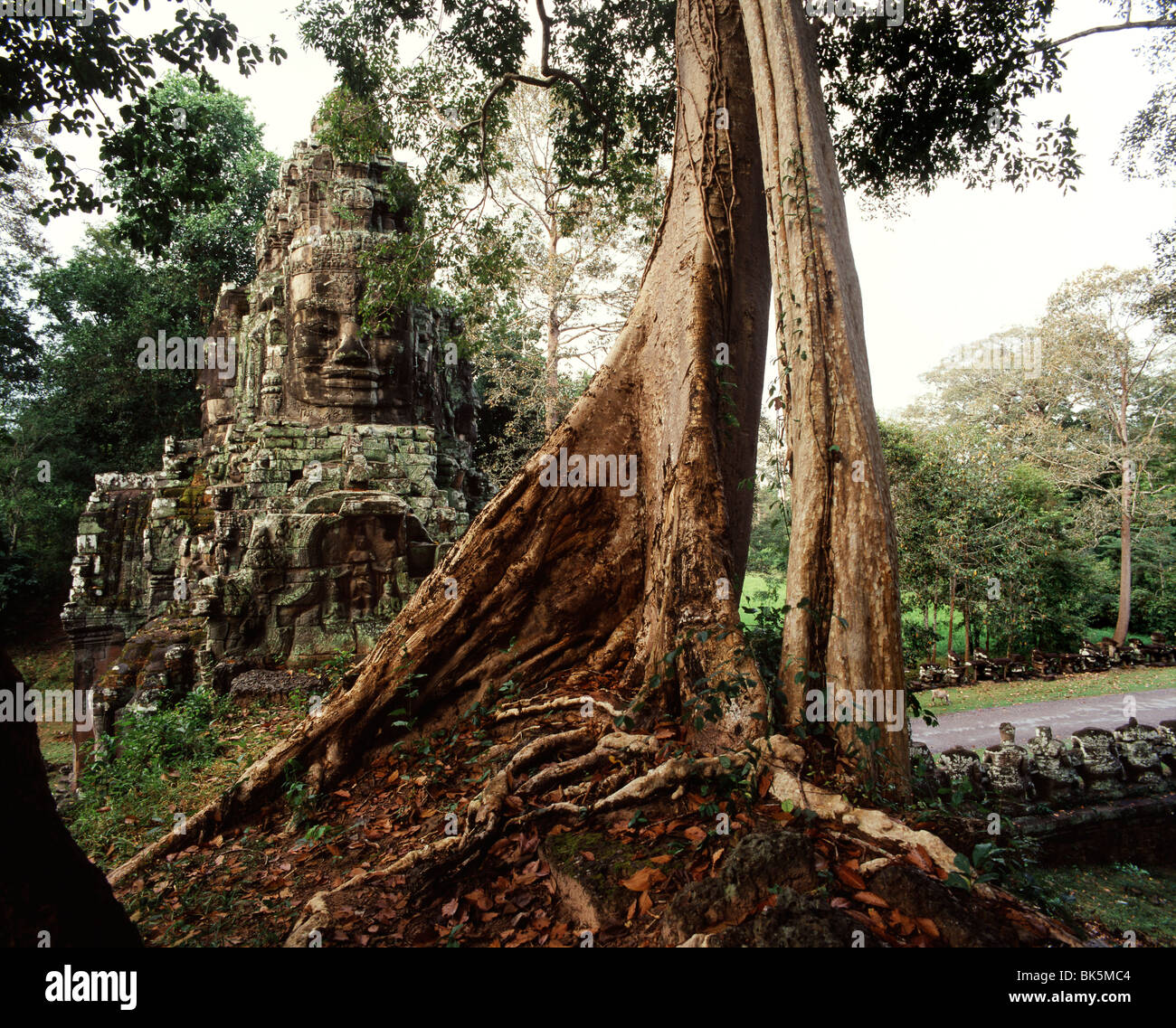 Gates of Angkor Thom, Victory Gate, Angkor Thom, Angkor, UNESCO World Heritage Site, Cambodia, Indochina, Southeast - Stock Image