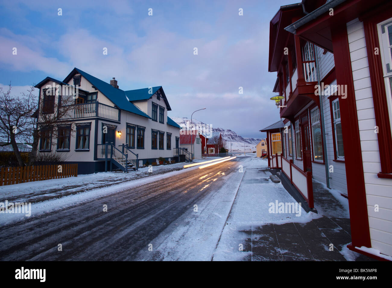 A street in Seydisfjordur in the East Fjords, Iceland - Stock Image