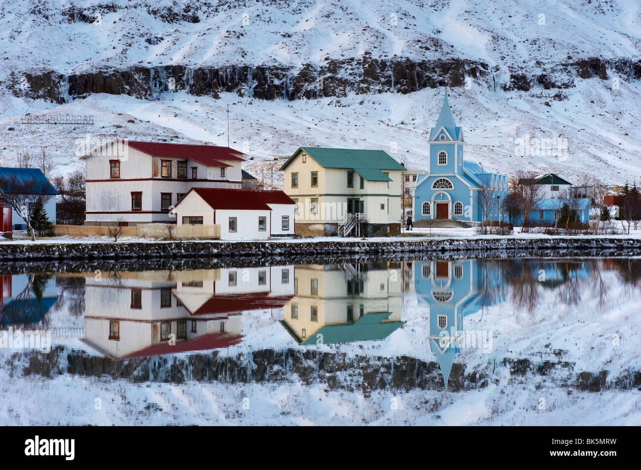 Traditional wooden church, built in 1922, at Seydisfjordur, Iceland - Stock Image