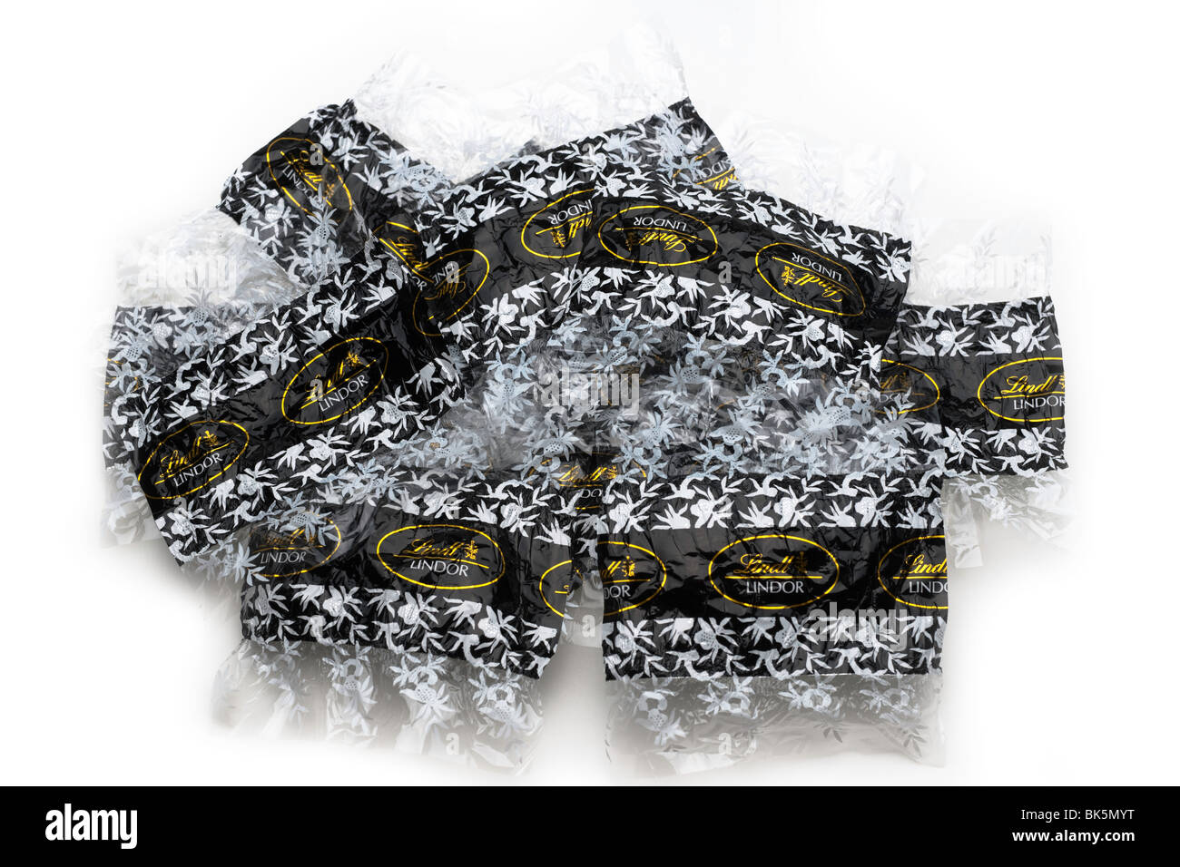 Pile of Lintz Lindor chocolate wrappers - Stock Image
