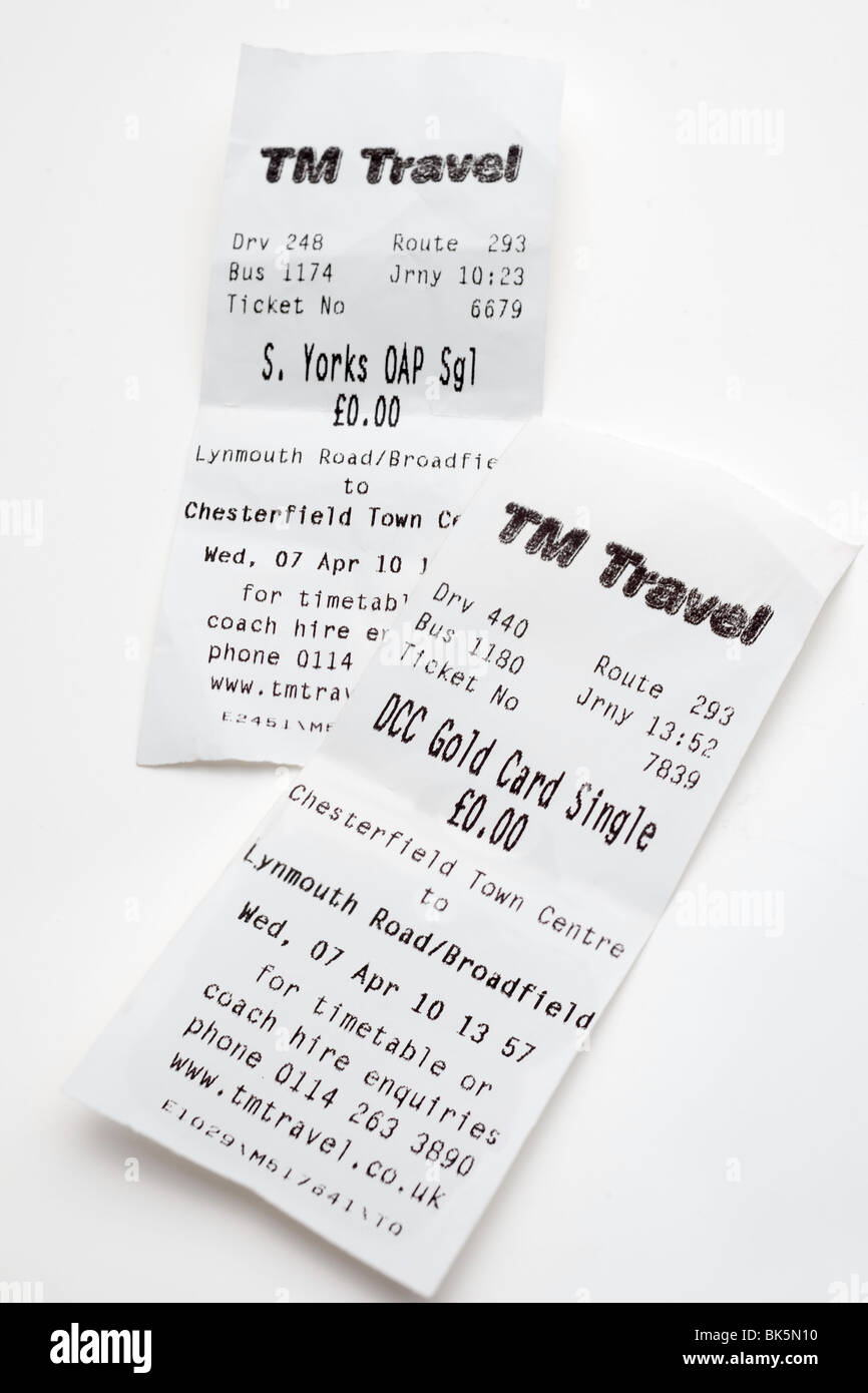 Two Tm Travel bus tickets outward and return journeys - Stock Image