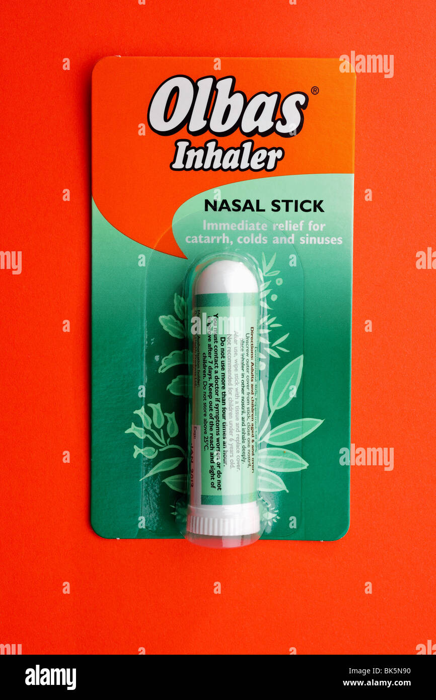 Olbas inhaler nasal stick Stock Photo