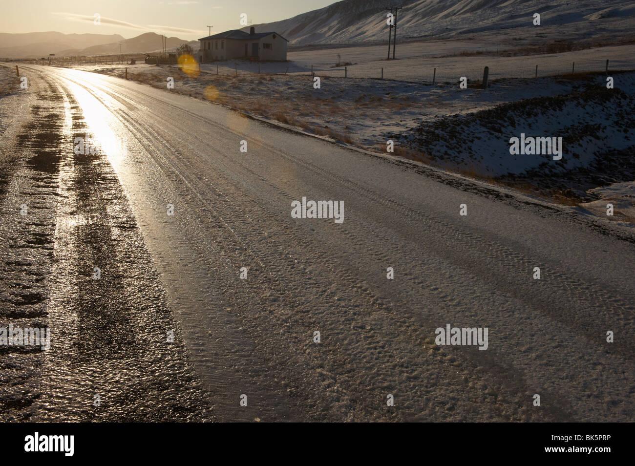 Road in Borgarfjordur Eystri fjord, East Fjords, Iceland, Polar Regions - Stock Image