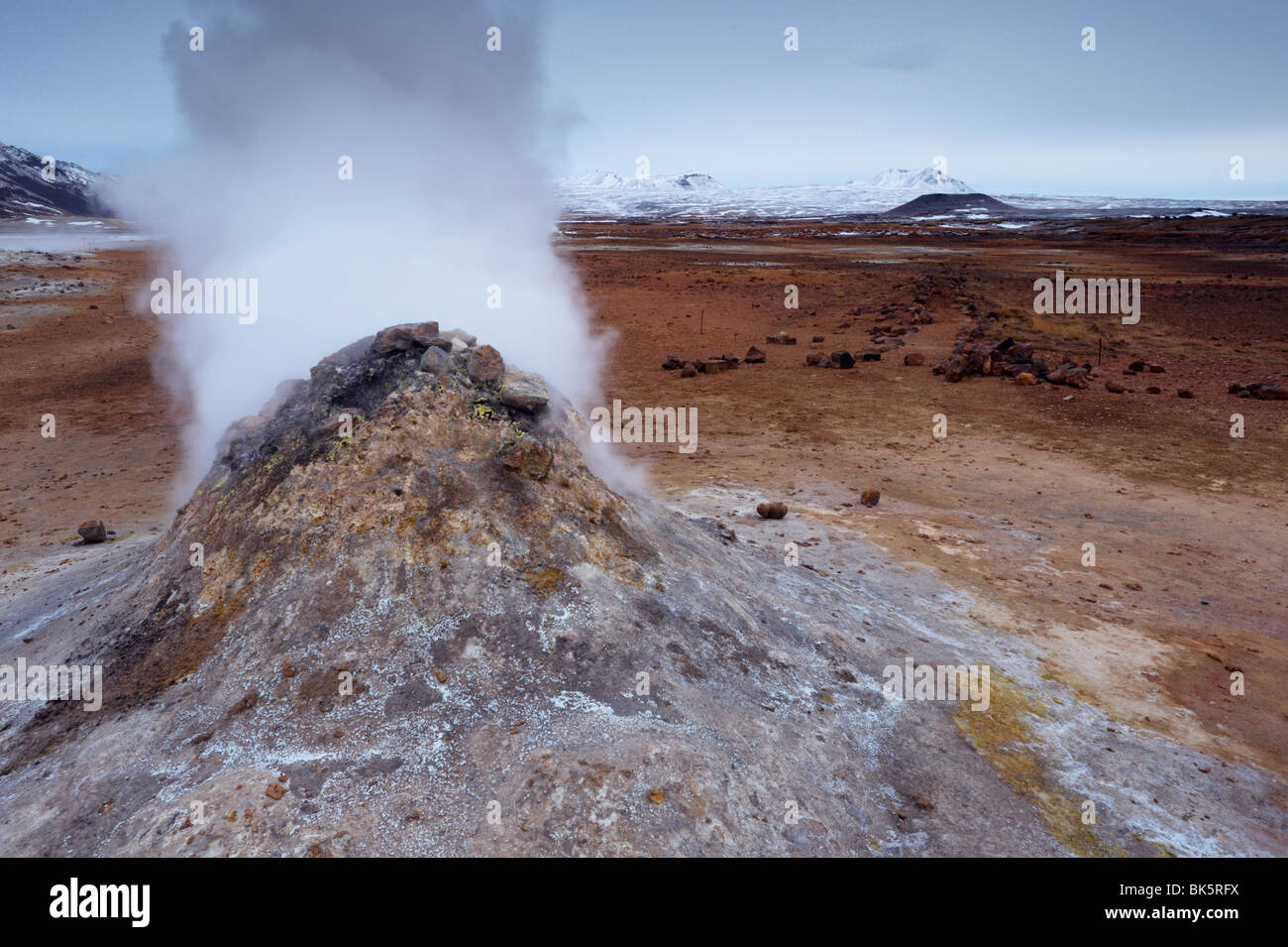 Steam vent at Namaskard geothermal area near Lake Myvatn and Reykjahlid, Iceland - Stock Image