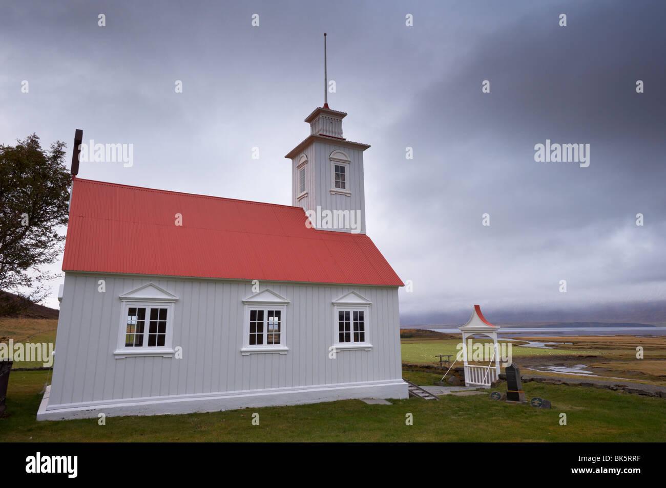 Laufas historic farmstead, the present church built in 1865, north of Akureyri, Iceland, Polar Regions - Stock Image