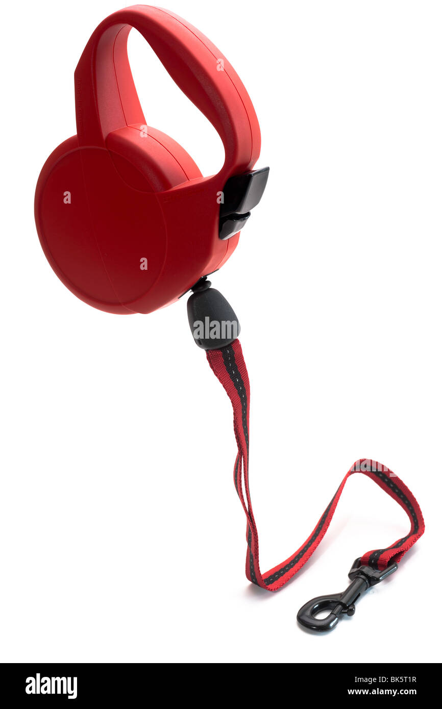 Red 5 meter retractable dog lead - Stock Image