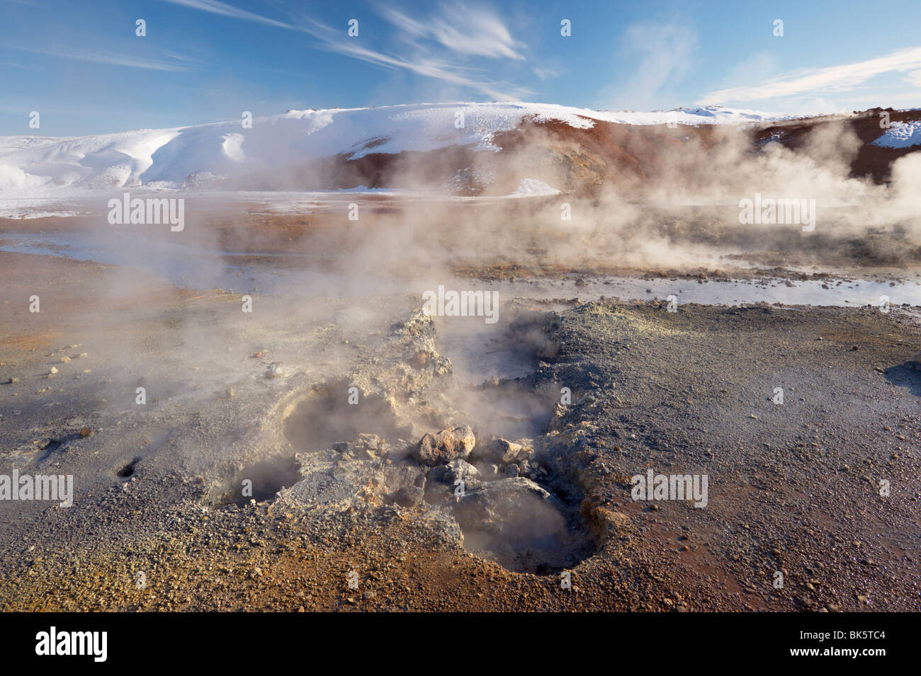 Geothermal activity of mudpots, hot springs and fumaroles, at Krisuvik, Reykjanes Peninsula, south-west Iceland, - Stock Image