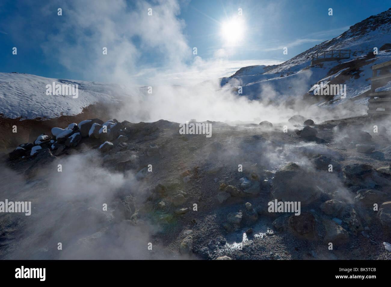 Geothermal activity of mudpots, hot springs and fumaroles, at Krisuvik (Krysuvik-Seltun), Reykjanes Peninsula, Iceland - Stock Image