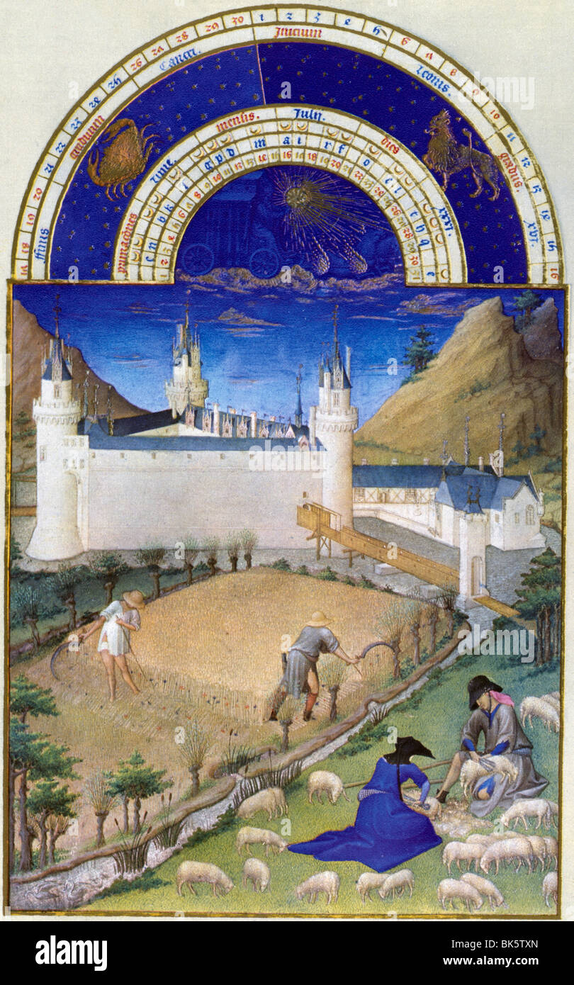Harvest Time, by Limbourg Brothers, 15th Century, 1385-1416 - Stock Image