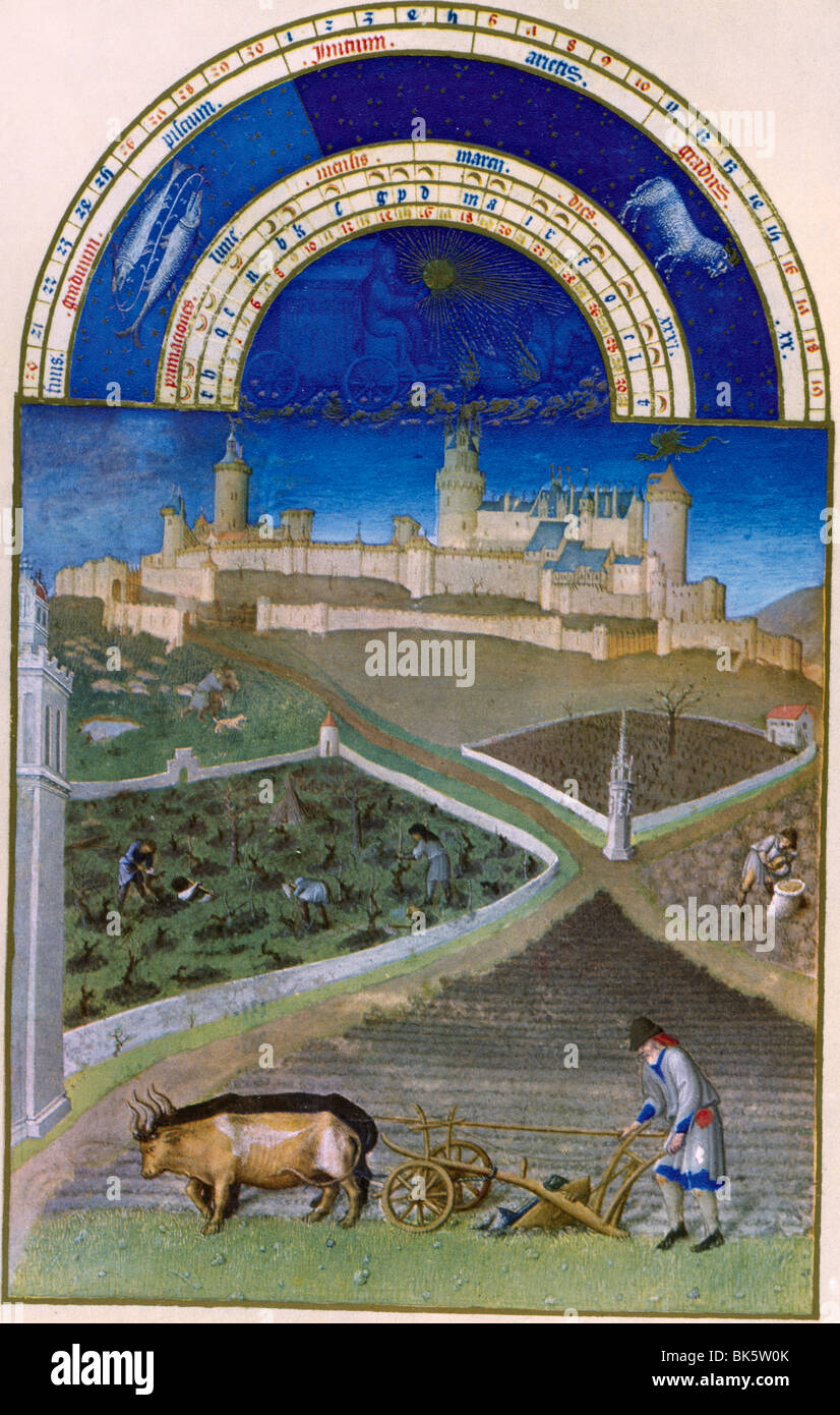 Spring on the Farm, by Limbourg Brothers, 15th Century, 1385-1416 - Stock Image