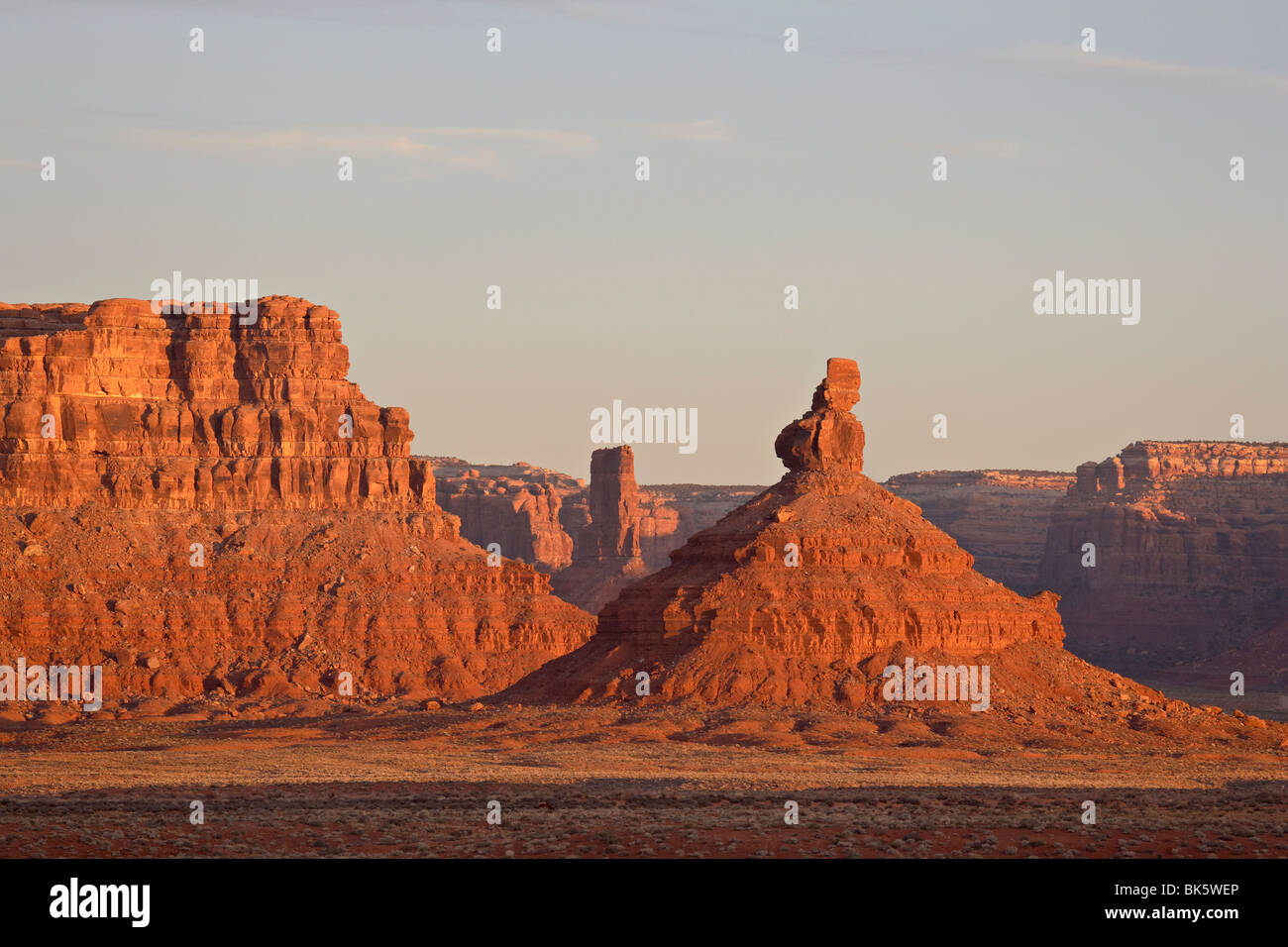 Rock formations at first light, Valley of the Gods, Utah, United States of America, North America - Stock Image