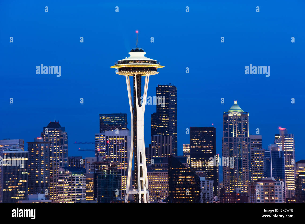 Downtown buildings and the Space Needle, Seattle, Washington State, United States of America, North America - Stock Image