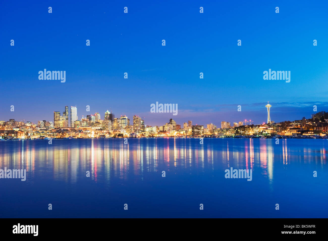 Downtown buildings and Space Needle seen from Lake Union, Seattle, Washington State, United States of America, North Stock Photo
