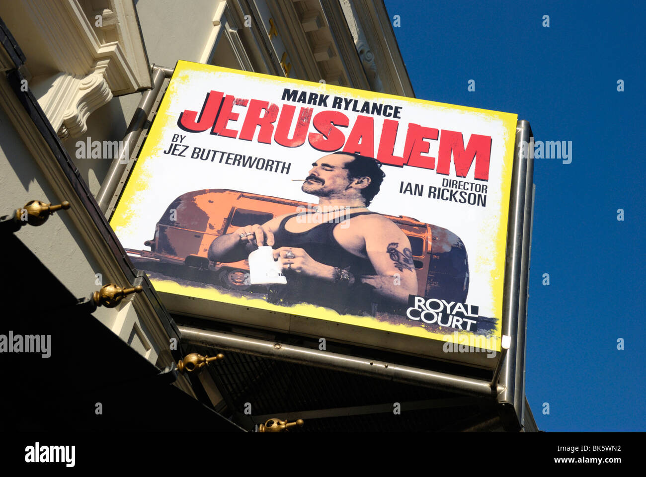 Billboard advertising the play JERUSALUM outside the Apollo Theatre in Shaftesbury Avenue, London, England - Stock Image