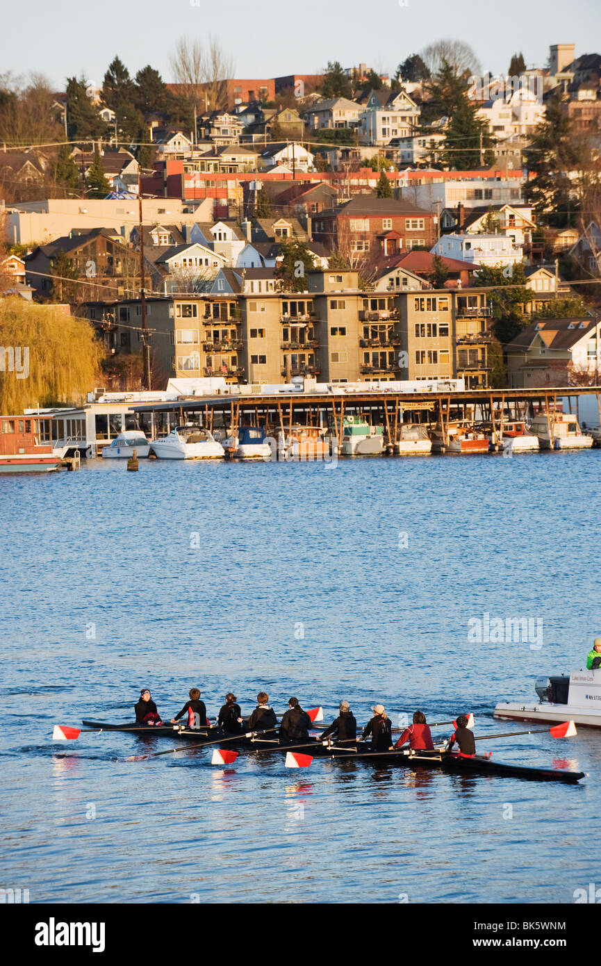 Rowing team on Lake Union, Seattle, Washington State, United States of America, North America Stock Photo