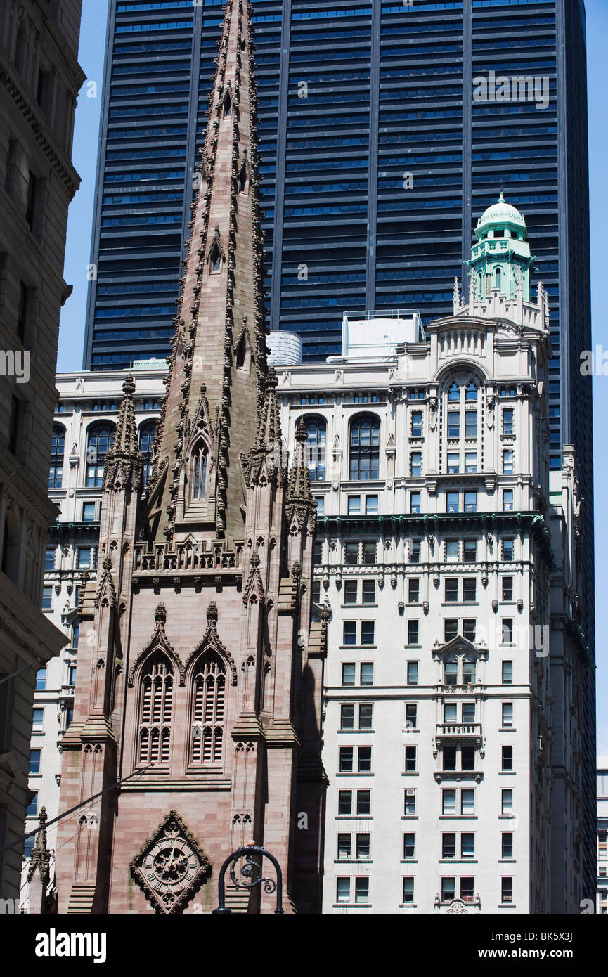 Episcopal syle Trinity Church, Gothic revival built in 1846, Wall Street, Manhattan, NYC - Stock Image